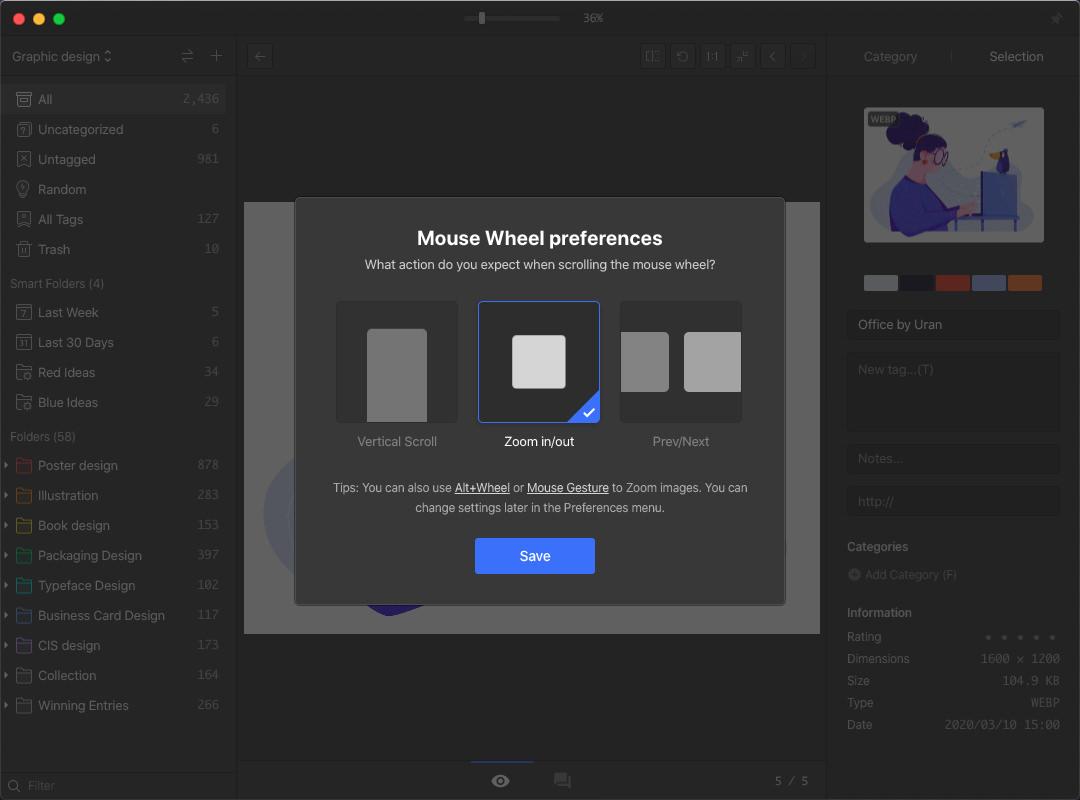 Eagle select mouse wheel preferences.